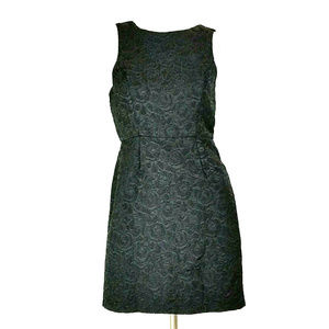 F21 Black Sparkly Embossed Roses Sleeveless Dress